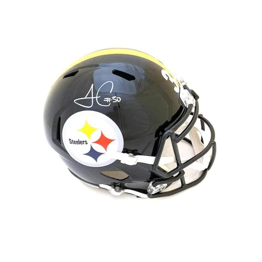 James Conner Autographed Pittsburgh Steelers Full Sized Black Replica SPEED Helmet