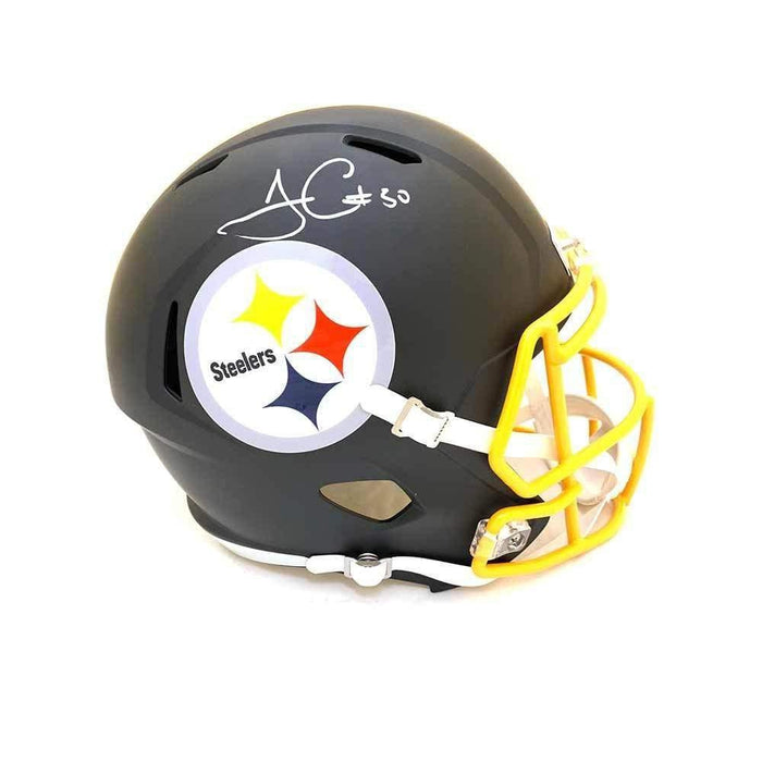 James Conner Autographed Pittsburgh Steelers Full Sized Black Replica SPEED Matte Helmet with Gold Facemask