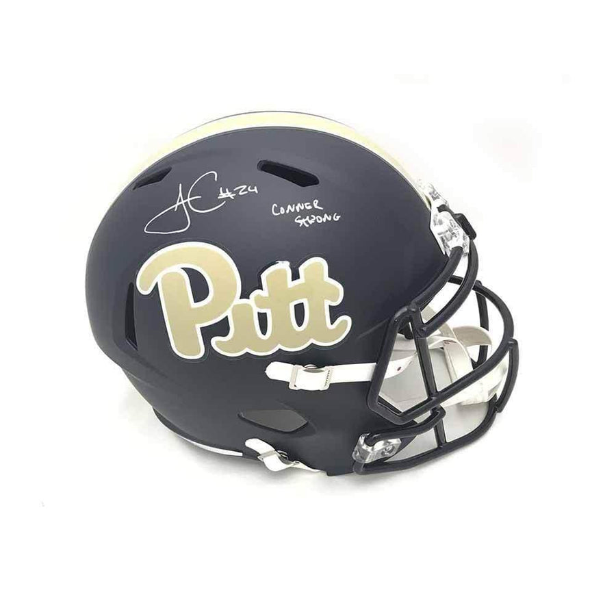 "Signed PITT PANTHERS Football Helmets James Conner Signed Pitt Panthers Navy Blue Full Size Replica Helmet with ""Conner Strong"""