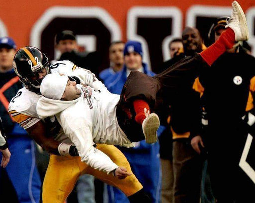 James Harrison Body Slam Browns Fan Color Unsigned 8x10 Photo