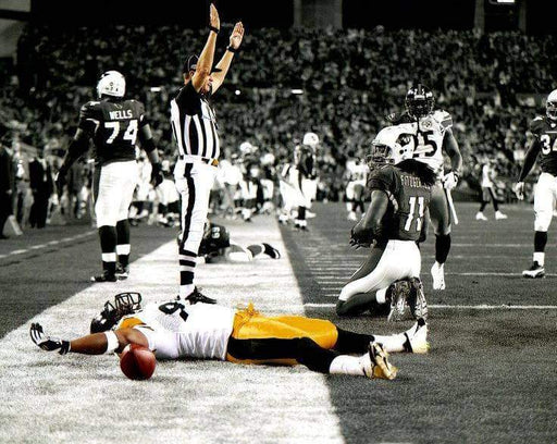 James Harrison Laying in End Zone Spotlight SB43 Unsigned 8x10 Photo