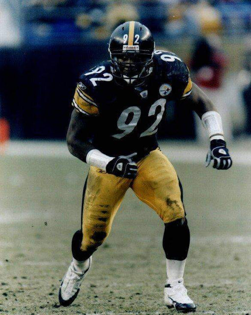 James Harrison Running in Black Unsigned 8x10 Photo