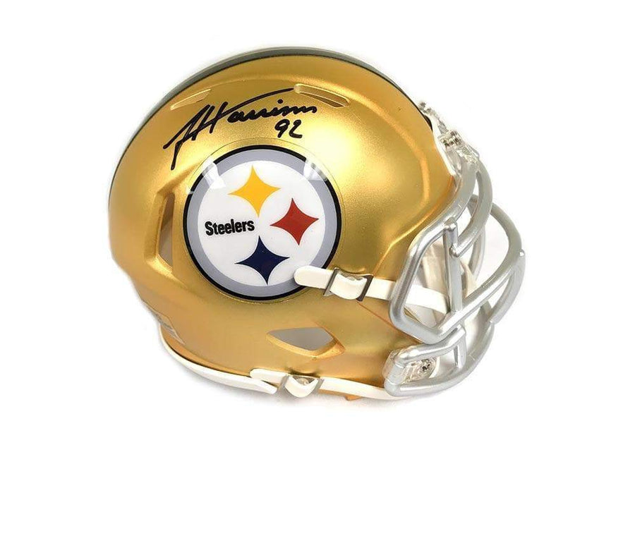 Signed STEELERS Mini Helmets James Harrison Signed Steelers Blaze Mini Helmet