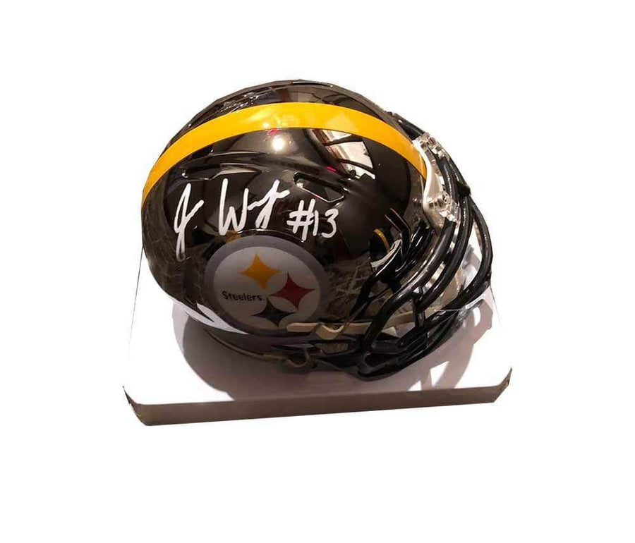 Signed STEELERS Mini Helmets James Washington Signed Pittsburgh Steelers CHROME Mini Helmet