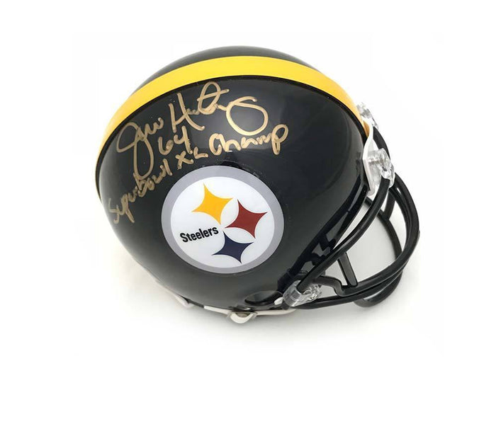 Jeff Hartings Autographed Pittsburgh Steelers Black Mini Helmet with Super Bowl XL Champ