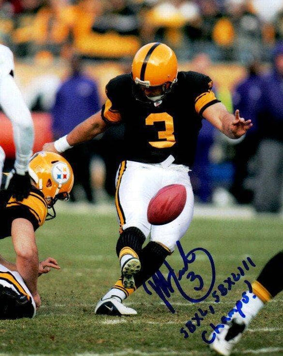 Jeff Reed Signed Kicking in 75th Anniversary Uniform 8x10 Photo with SBXL, SBXLIII Champs!