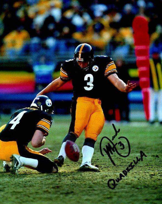 "Jeff Reed Signed Kicking in Black 8x10 Photo with ""Quadzilla"""