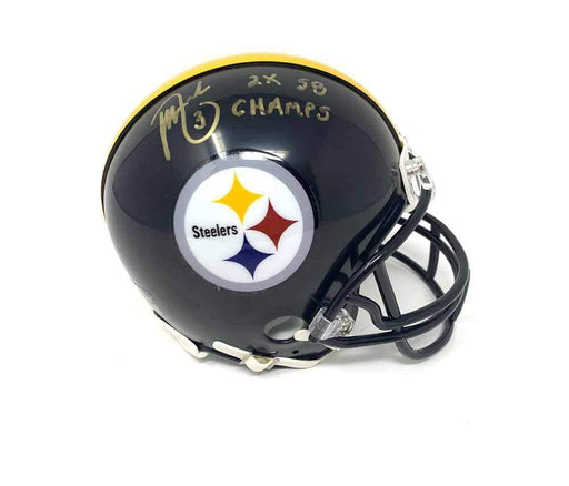 "Jeff Reed Signed Pittsburgh Steelers Mini Helmet with ""2X SB Champs"""