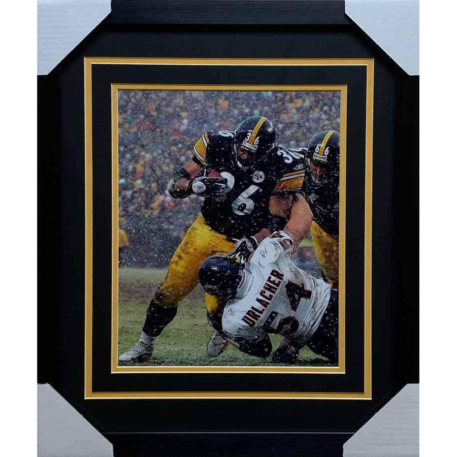 Jerome Bettis Over Brian Urlacher Unsigned 11x14 Photo - Professionally Framed