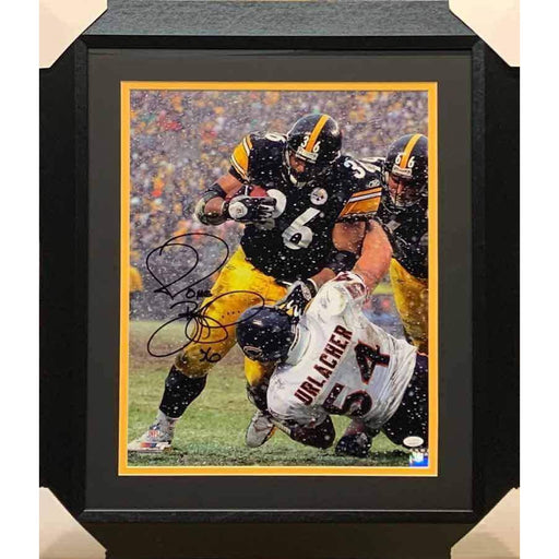 Jerome Bettis Over Urlacher Signed 16x20 Photo - Professionally Framed