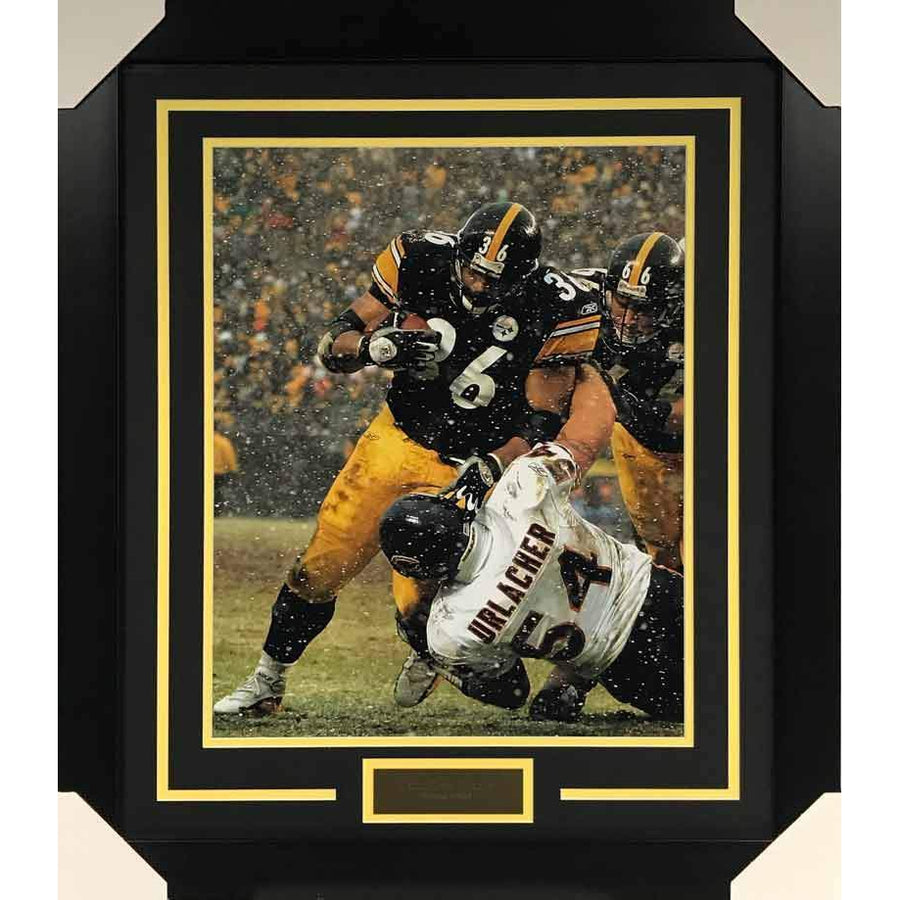 Jerome Bettis Over Urlacher UNSIGNED 16x20 Photo - Professionally Framed