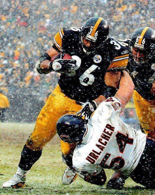 Jerome Bettis Running Over Urlacher Unsigned 8x10 Photo