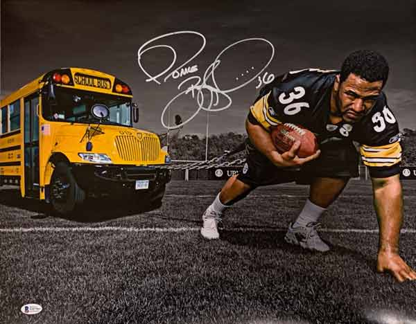 Jerome Bettis Signed Pulling School Bus 16X20 Photo
