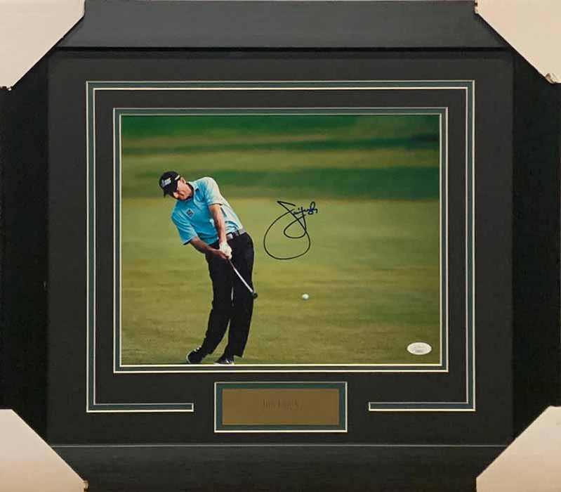 Jim Furyk Signed Swinging in Light Blue Shirt 11x14 Photo - Professionally Framed