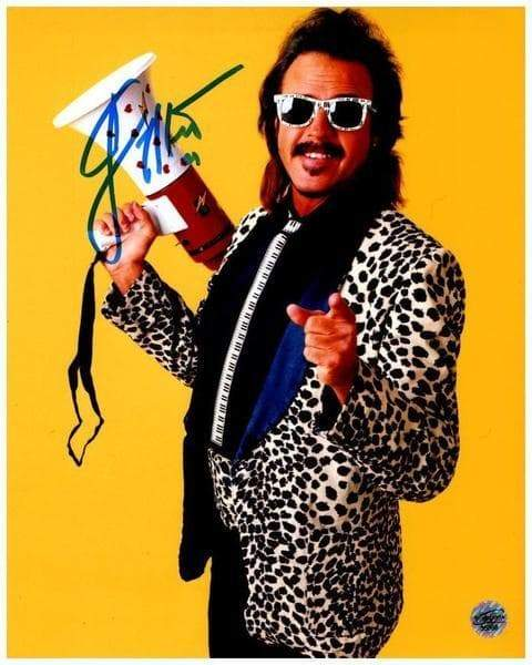 Jimmy Hart in Leopard Jacket Signed 8x10 Photo