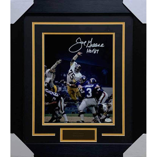 Joe Greene Attacking in White Signed 11x14 - Professionally Framed