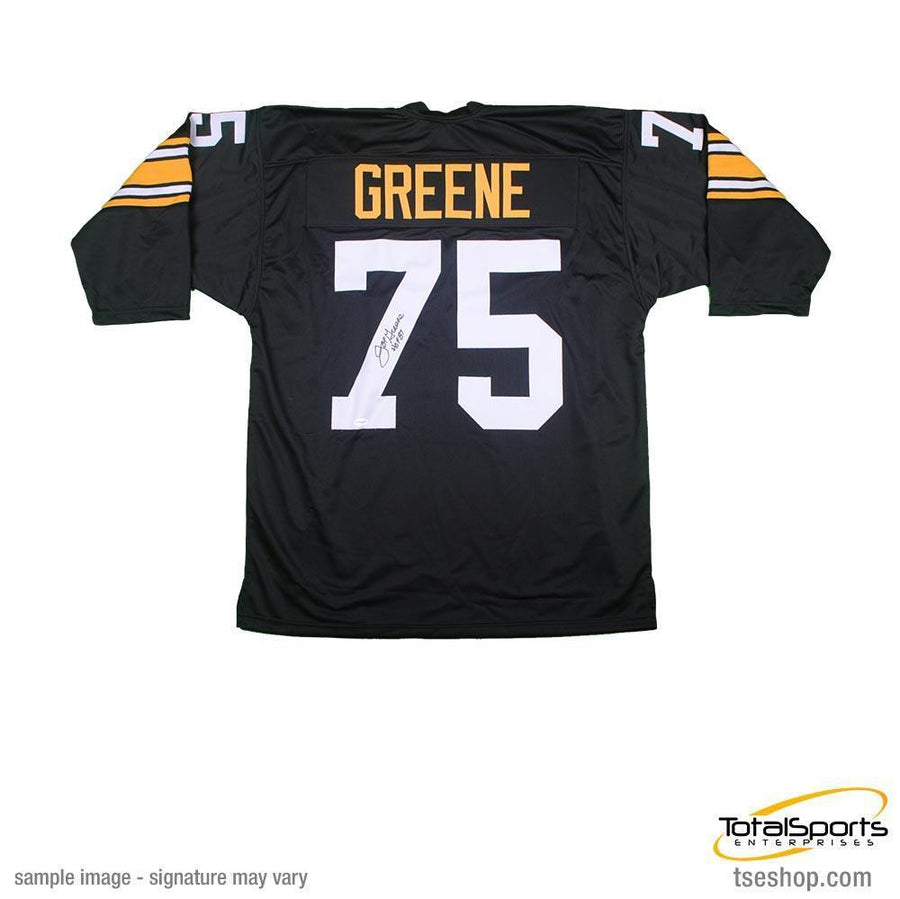 "Joe Greene Autographed Black Custom 3/4 Sleeve Jersey inscribed ""HOF 87"""