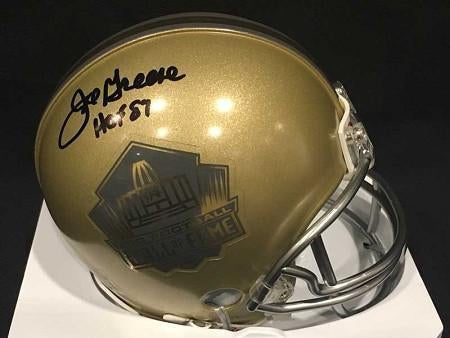 Joe Greene Autographed Gold HOF Mini Helmet with HOF '87