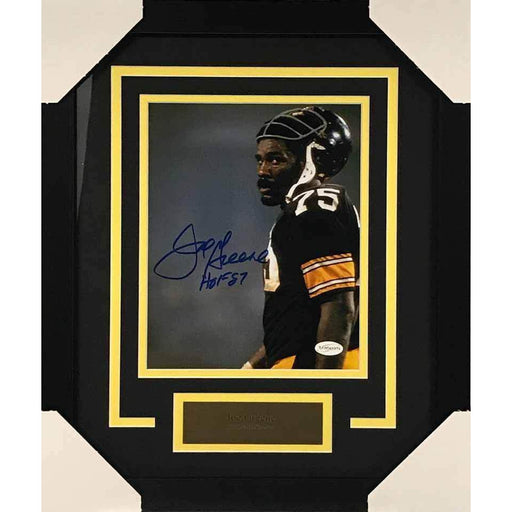 Joe Greene Helm. on Head Color Vertical  8x10 Signed - Professionally Framed