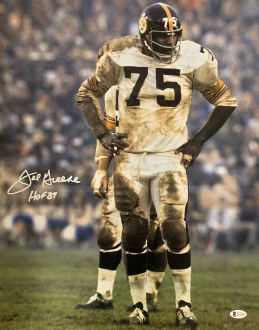 "Joe Greene Signed Muddy White Uniform 16X20 Photo With ""HOF 87"""