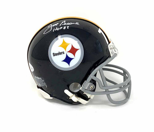 Joe Greene Signed Pittsburgh Steelers Black TB Mini Helmet With HOF 87 - DAMAGED