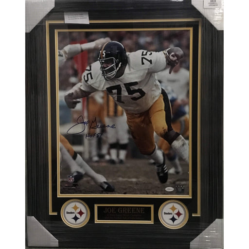 Joe Greene Taking off from Line Signed 16x20 - Professionally Framed