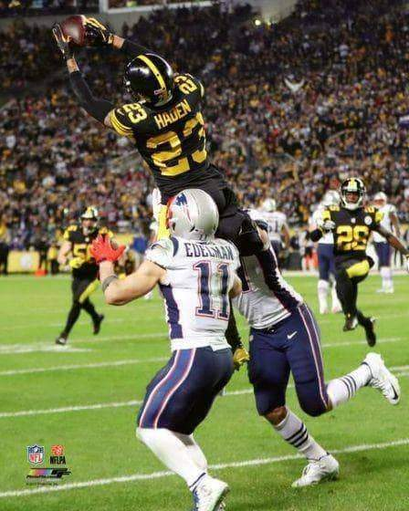 Joe Haden Interception Over Edelman Unsigned 11x14 Photo