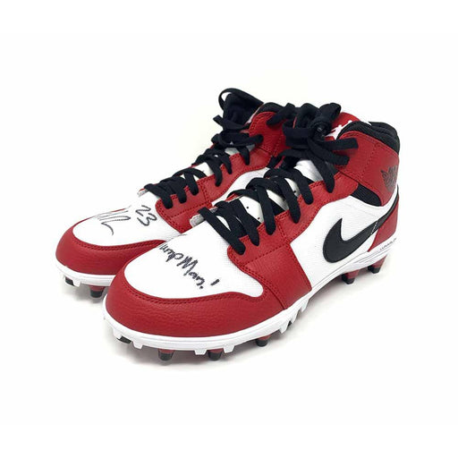Joe Haden Signed Red and White Nike Pair of Cleats with Jumpman