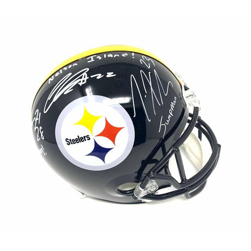Joe Haden, Steven Nelson, Mike Hilton Triple Signed Pittsburgh Steelers Black Replica Full Size Helmet with Inscriptions