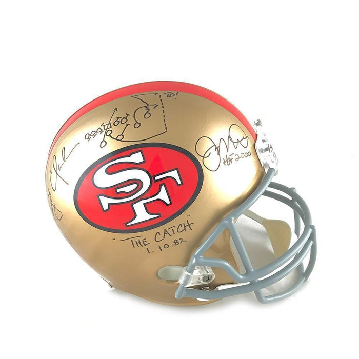 "Joe Montana and Dwight Clark Signed 49ers Replica Helmet with ""The Catch"" Inscription"