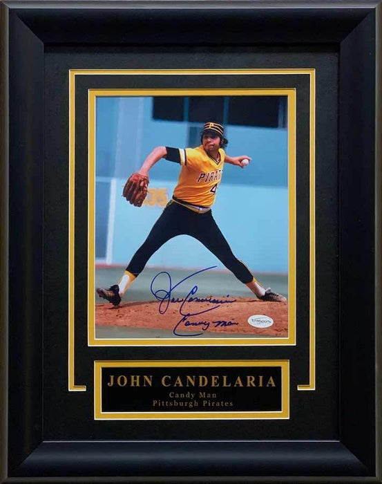 John Candelaria Signed Pitching (Gold and Black Uniform) 8x10 Photo Inscribed 'CANDY MAN' - Professionally Framed