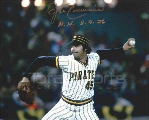 John Candelaria Signed Pitching (Pinstripe Uniform) 8x10 Photo inscribed 'NH 8-9-76'
