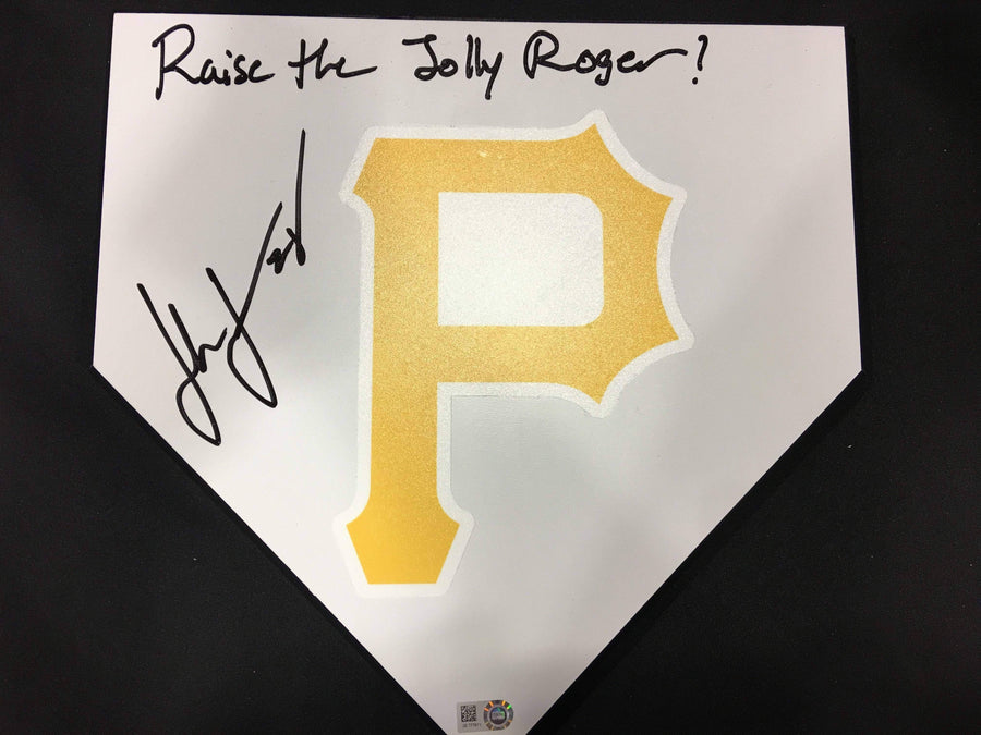 John Jaso Pirate P Home Plate - Autographed and Inscribed 'Raise The Jolly Roger'