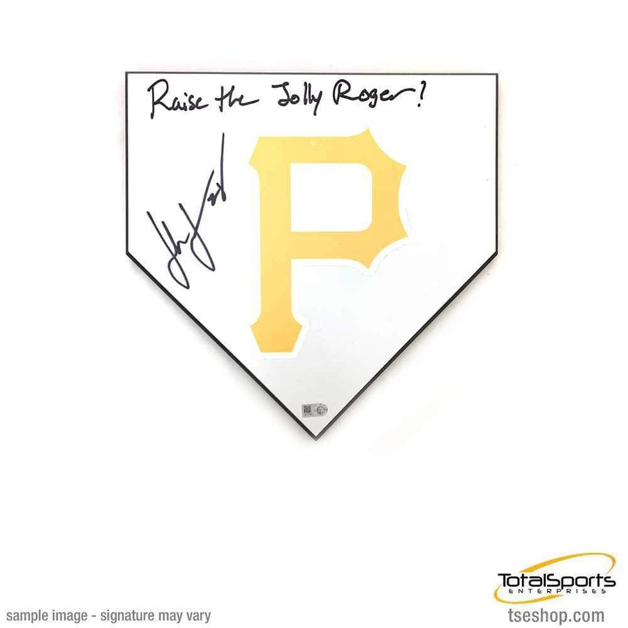 "John Jaso Signed Mini Home Plate Inscribed ""Raise the Jolly Roger"""
