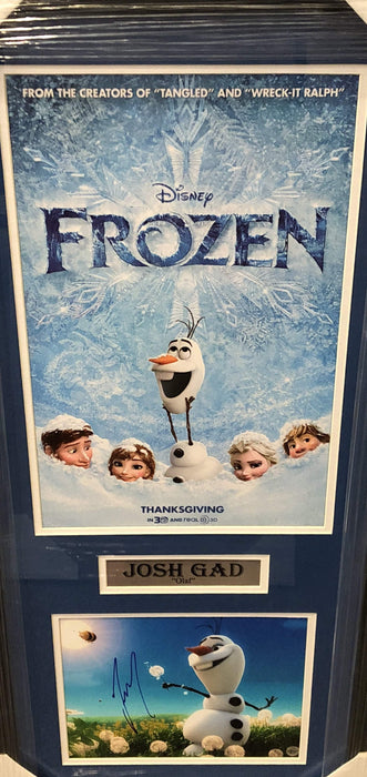 Josh Gad Frozen Signed 8x10 Olaf in field with 11x17 Frozen Poster - Professionally Framed