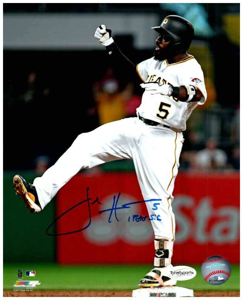Josh Harrison Signed Leg Up on Base 8x10 Photo