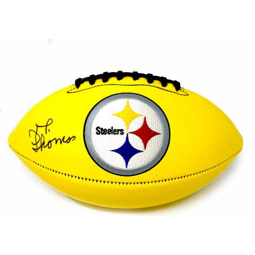 Jt Thomas Autographed Pittsburgh Steelers Yellow Logo Football With 4X Sb Champs