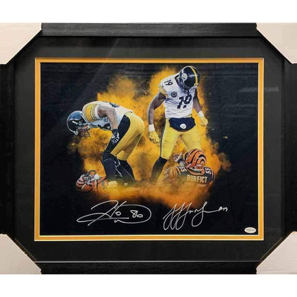 JuJu Smith-Schuster and Hines Ward Dual Signed Over Bengals 16x20 Photo - Professionally Framed