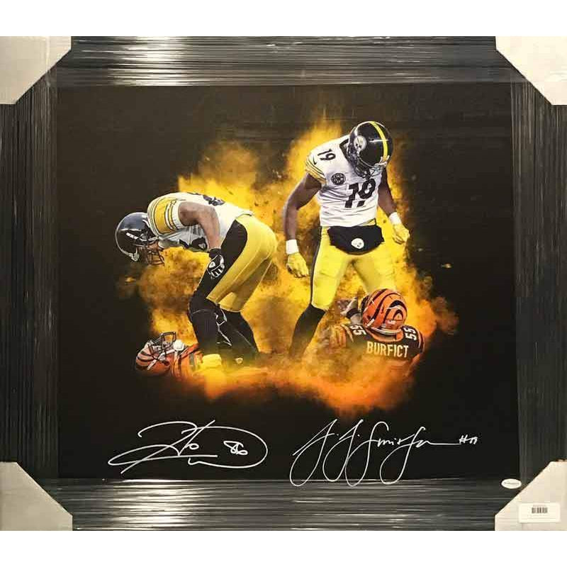 JuJu Smith-Schuster and Hines Ward Dual Signed Over Bengals 20 x 24 Canvas - Professionally Framed