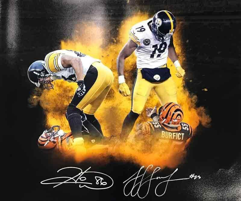 Signed STEELERS Photos JuJu Smith-Schuster and Hines Ward Dual Signed Over Bengals 20 x 24 Photo