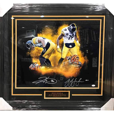 JuJu Smith-Schuster and Hines Ward Dual Signed Over Bengals 20 x 24 Photo - Professionally Framed