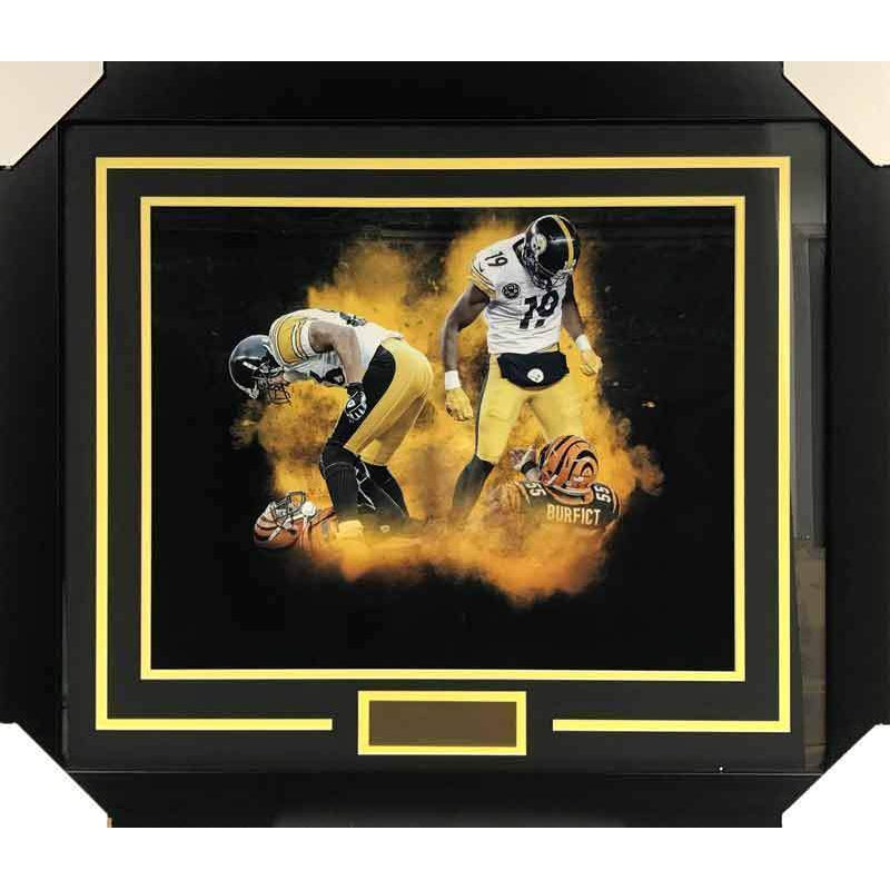 Juju Smith-Schuster and Hines Ward UNSIGNED Over Bengals 16 x 20 Photo - Professionally Framed