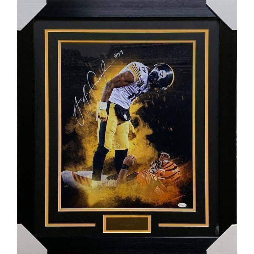 JuJu Smith Schuster Autographed Over Burfict 16x20 - Professionally Framed