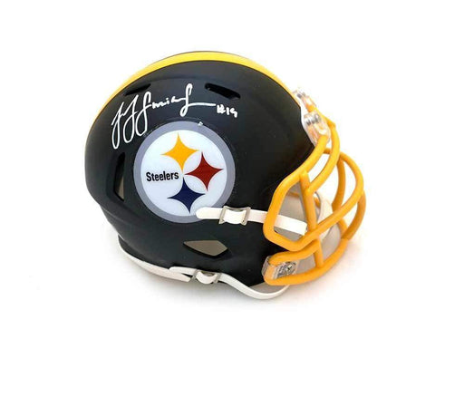 JuJu Smith-Schuster Autographed Pittsburgh Steelers Black Matte Speed Mini Helmet with Gold Mask