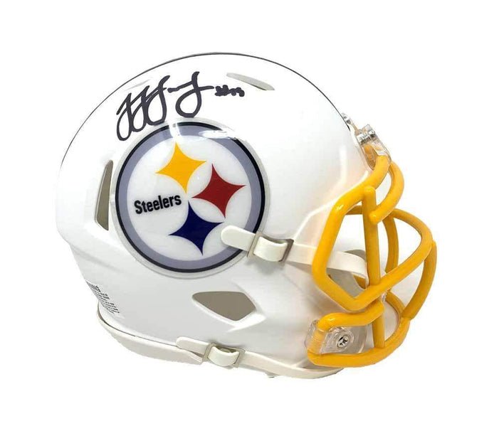 JuJu Smith-Schuster Autographed Pittsburgh Steelers WHITE Matte Speed Mini Helmet with Gold Mask