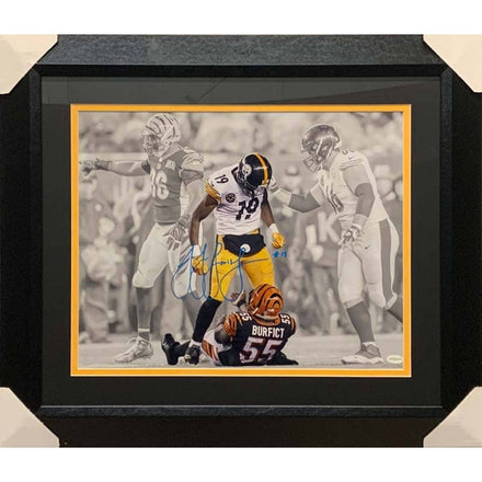 JuJu Smith Schuster Autographed Spotlight Over Burfict 16x20 - Professionally Framed
