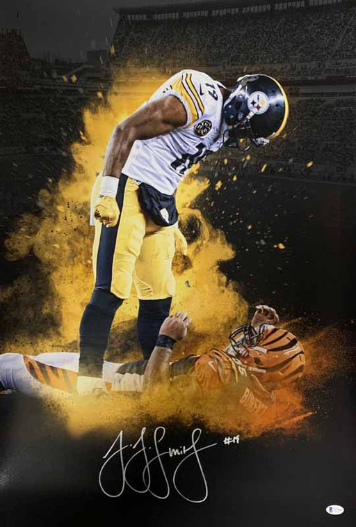 Juju Smith-Schuster Signed Custom Over Burfict Explosion 20X30 Photo