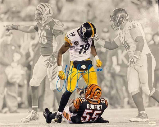 JuJu Smith-Schuster Signed Custom Spotlight Over Burfict 16x20 Photo
