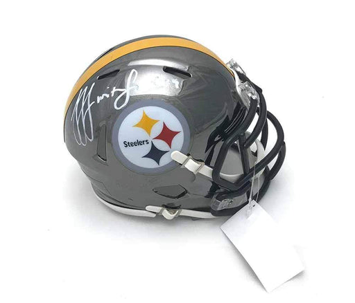 Signed STEELERS Mini Helmets JuJu Smith-Schuster Signed Pittsburgh Steelers CHROME Speed Mini Helmet