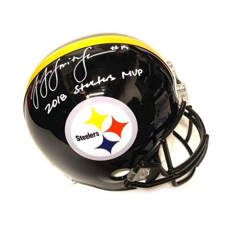 JuJu Smith-Schuster Signed Pittsburgh Steelers LE Replica Full Size Helmet Inscribed 2018 Steelers MVP Default Title